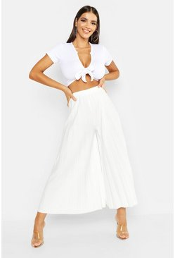 Womens Ivory High Waist Pleated Wide Leg Culottes