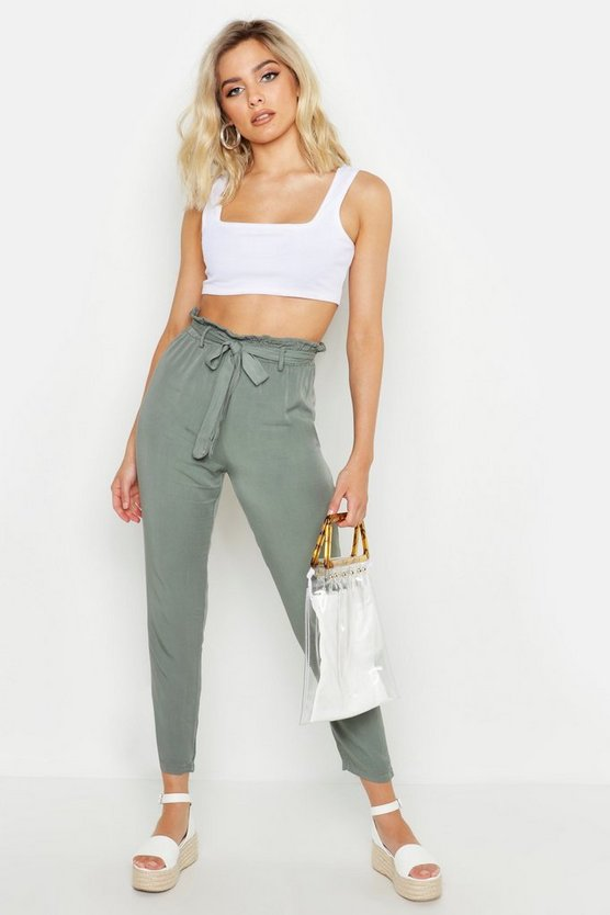 Womens Khaki Button Detail Soft Cotton Tapered Trousers