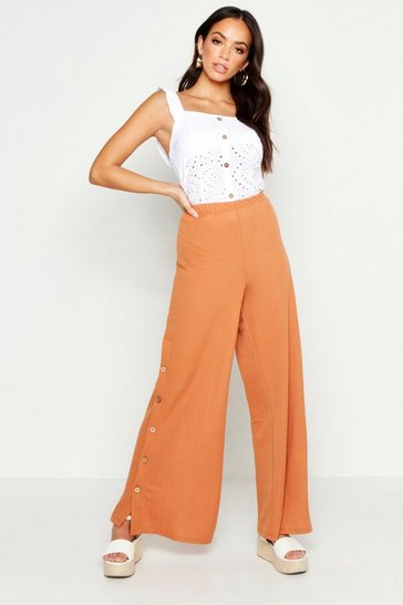 Womens Terracotta Button Side Linen Look Wide Leg Trousers