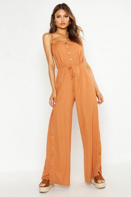 Womens Terracotta Button Front Side Split Linen Look Jumpsuit