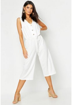 Ecru Button Front Culotte Jumpsuit