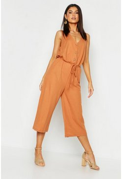 Womens Terracotta Button Front Culotte Jumpsuit