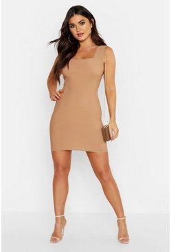 Womens Camel Textured Sheared Square Neck Mini Dress