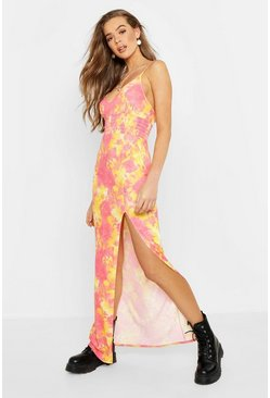 Womens Pink Tie Dye Shearing Maxi Dress