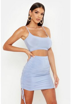 Baby blue Slinky Cami Top & Ruched Mini Skirt Co-ord Set