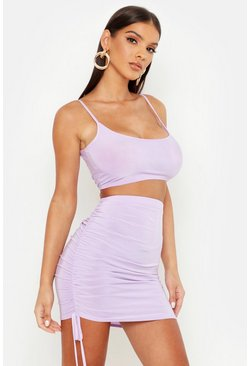 Womens Lilac Slinky Cami Top And Ruched Mini Skirt