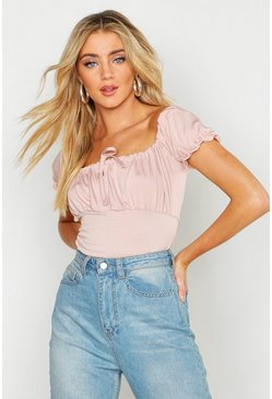 Womens Rose Shirred Jersey Peasant Top