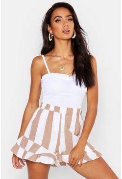 Womens White Rib Ruffle Detail Strappy Cami