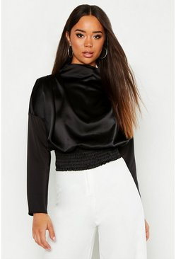 Womens Black Satin High Neck Shirring Blouse