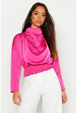 Womens Pink Satin High Neck Shirring Blouse