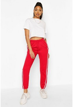 Red Oversized Stripe Detail Jogger
