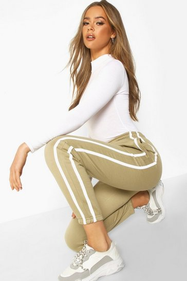 Womens Sage Oversized Stripe Detail Jogger