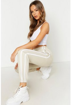 Womens Sand Oversized Stripe Detail Jogger