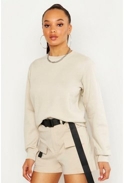 Womens Sand Oversize Basic Crew Neck Sweat