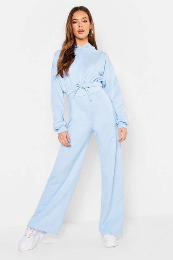 Womens Pale blue Draw Cord Hoody & Wide Leg Jogger