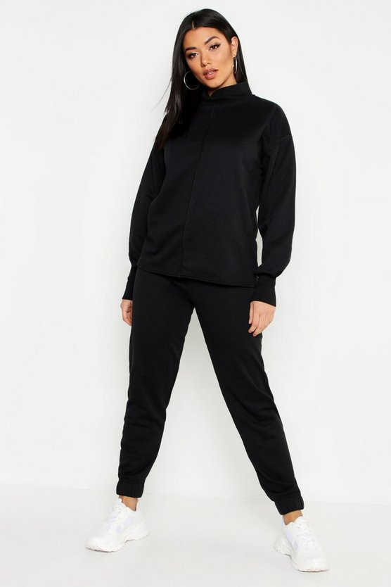 Womens Black Funnel Neck Seam Detail Sweat & Basic Jogger