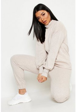 Womens Oatmeal Funnel Neck Seam Detail Sweat & Basic Jogger