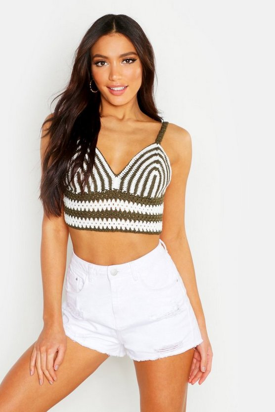 Khaki Stripe Crochet Knit Crop Top