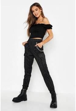 Womens Black Pinstripe Chain Cargo Pants