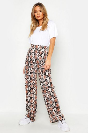 Womens Camel Pleated Woven Snake Wide Leg Trousers