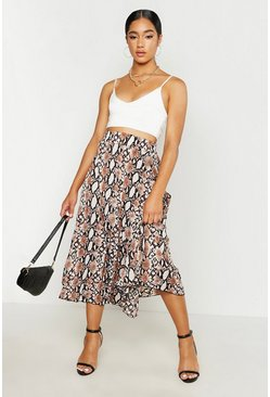 Womens Camel Pleated Woven Snake Print Midi Skirt