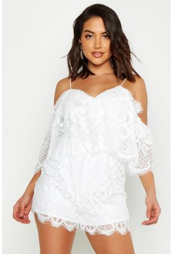 Womens White Lace Cold Shoulder Playsuit