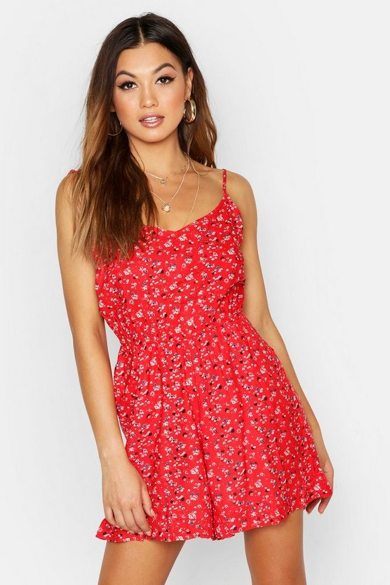 Womens Red Floral Frill Strappy Playsuit