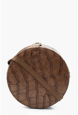 Womens Brown Croc Structured Round Cross Body Bag