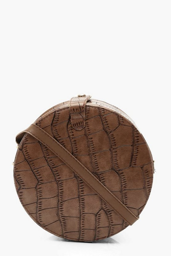 Womens Brown Croc Structured Round Drum Cross Body