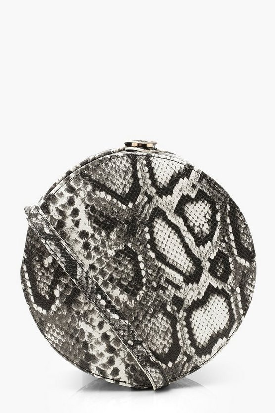 Womens Black Snake Structured Round Drum Cross Body