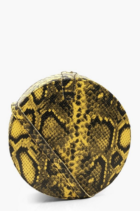 Womens Lime Snake Structured Round Drum Cross Body