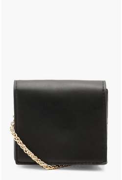 Womens Black Micro Mini Square Cross Body Bag