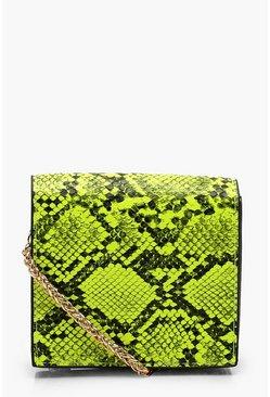Womens Lime Neon Snake Micro Mini Cross Body Bag