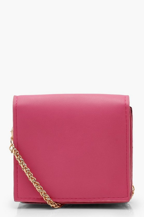 Womens Fuchsia Micro Mini Square Cross Body Bag