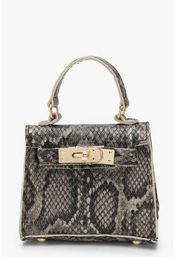 Womens Brown Faux Snake Mini Bag