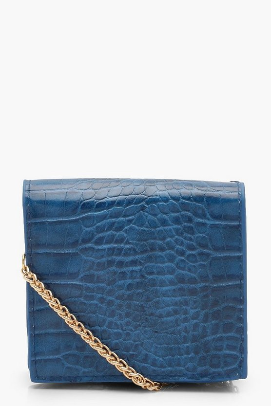 Womens Blue Croc Micro Mini Cross Body Bag