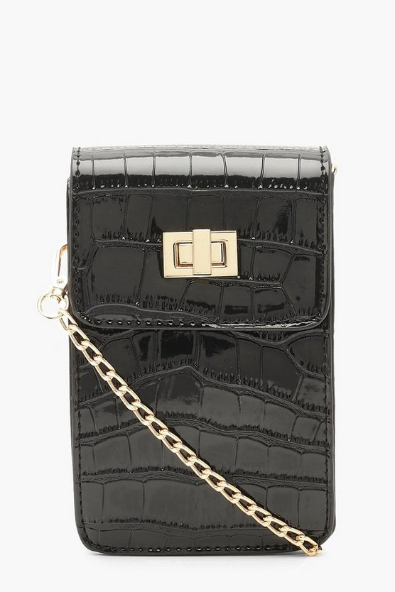 Womens Black Mini Croc Rectangle Cross Body Bag
