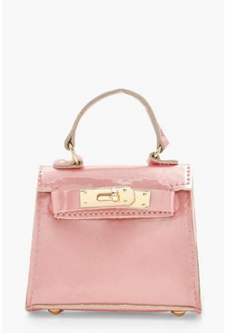 Mini sac imitation croco, Rose pale, Femme
