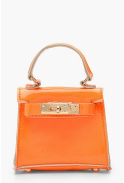 Mini-Tasche in Krokoleder-Optik, Orange, Damen