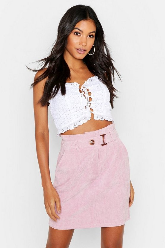Womens Lilac Babycord Paperbag Waist Buckle Mini Skirt