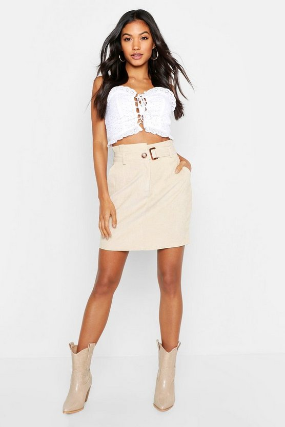 Babycord Paperbag Waist Buckle Mini Skirt