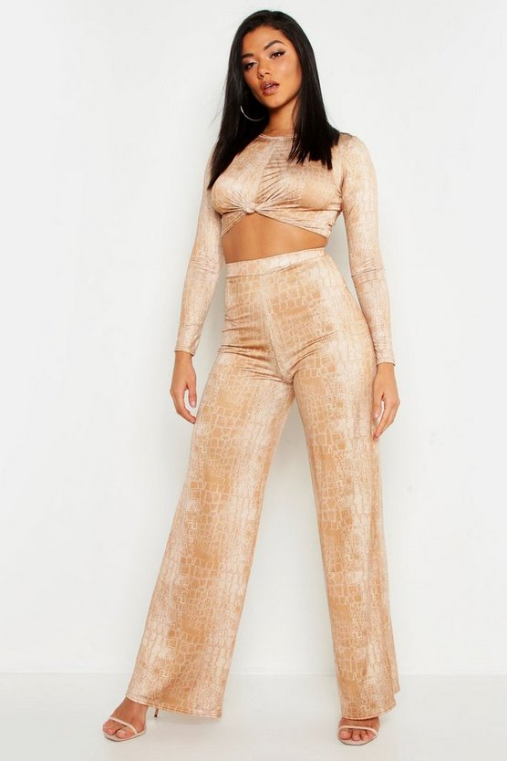 Camel Croc Print Slinky Wide Leg Palazzo Trousers