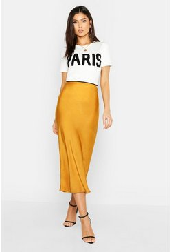 Womens Mustard Satin Bias Cut Midi Skirt
