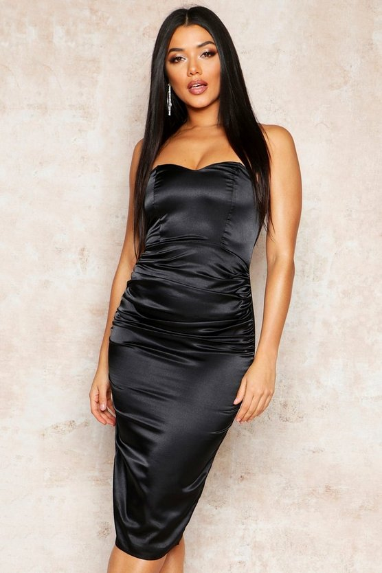 Womens Black Satin Ruched Bandeau Midi Dress