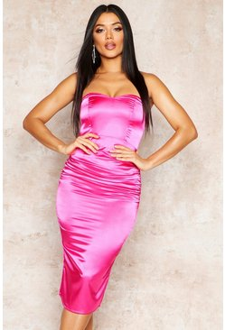 Womens Hot pink Satin Ruched Bandeau Midi Dress