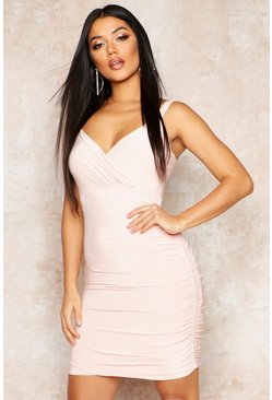 Womens Nude Double Layered Slinky Wrap Detail Dress