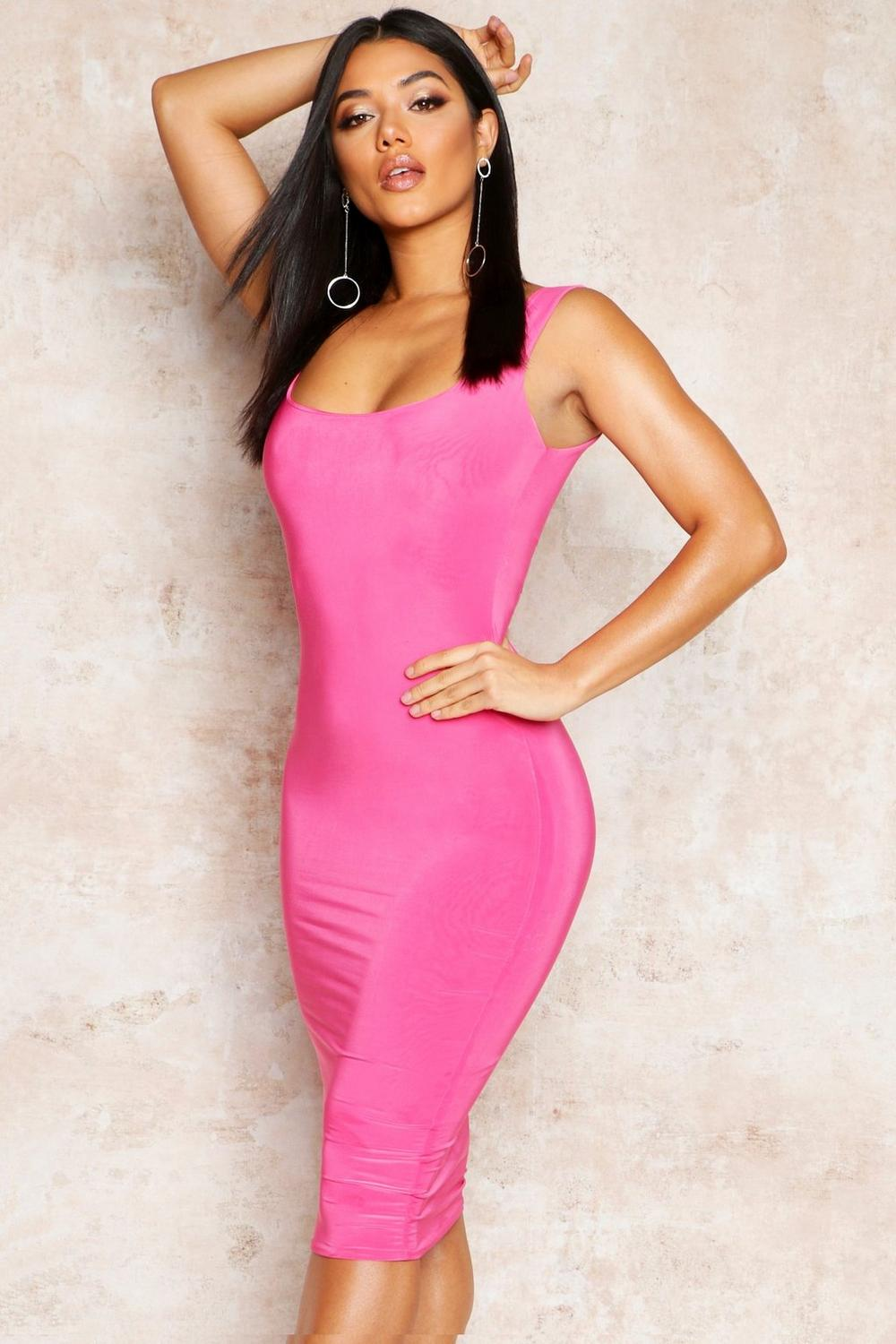 41e346404ac9 Womens Hot pink Double Layer Slinky Bodycon Midi Dress. Hover to zoom