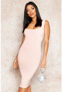 Womens Nude Double Layer Slinky Bodycon Midi Dress