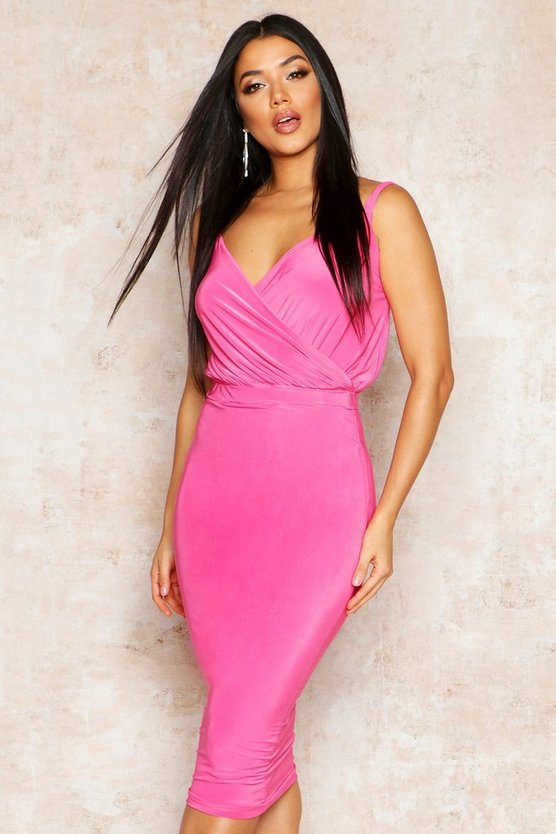 Womens Hot pink Double Slinky Midi Skirt