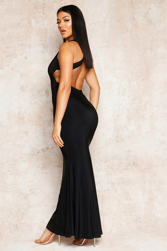 Cross Back Fishtail Maxi Dress